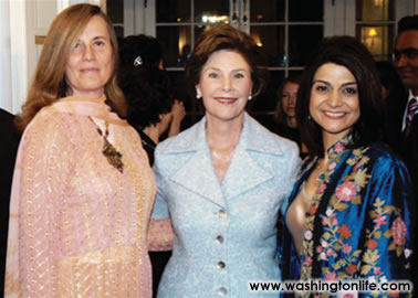 Diana Rowan Rockefeller, First Lady Laura Bush and Shamim Jawad