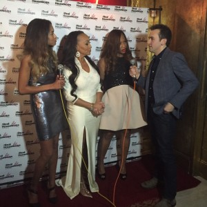 Housewives Kate, Charisse and Karen are interviewed by Tommy McFly on the red carpet at Sax (Photo by Erica Moody)