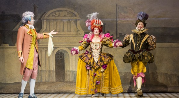 Robert Stanton as Mr. Puff, Charity Jones as Actress 2, and John Catron as Actor in the Shakespeare Theatre Company's production of The Critic, directed by Michael Kahn. (Photo by Scott Suchman)