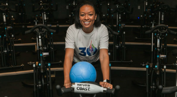 2-time Olympic Gold Medalist and Women's Sport Foundation Presiden Angela Hucles at Flywheel Dupont (Photo Courtesy of Flywheel)