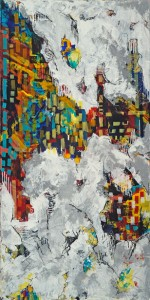"""Francesca Britton, """"City in the Clouds,"""" mixed media on canvas. Via Zenith Gallery."""