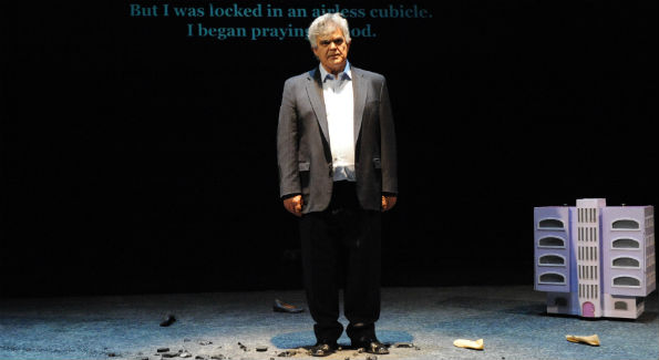 "Performer Gassan Abbas in ""I Shall Not Hate"" at Mosaic Theater Company of DC, January 23—February 14, 2016 (Photo by Stan Barouh)"