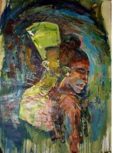 "Doba Afolabi, ""Reincarnation,"" acrylic on canvas. Via Zenith Gallery."