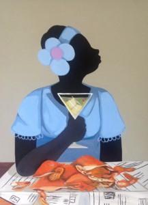 "Cassandra Gillens, ""Treating Myself,"" acrylic on canvas. Via Zenith Gallery."