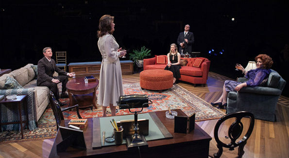 (L-R) Tom Wiggin as Chandler Harris, Margaret Colin as Hester Ferris, Caroline Hewitt as Anna Fitzgerald, Todd Scofield as George Mallonee and Jjana Valentiner as Carolyn Mallonee in The City of Conversation at Arena Stage at the Mead Center for American Theater January 29-March 6, 2016 (Photo by C. Stanley Photography)